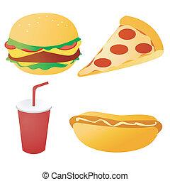 élelmiszer, állhatatos, gyorsan, vektor