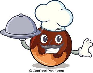 élelmiszer, csokoládé, séf, fánk, karikatúra, kabala