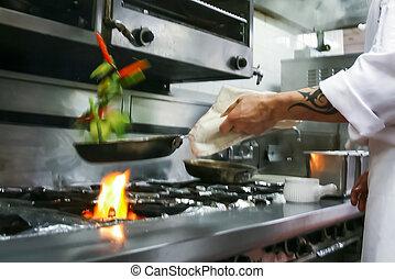 élelmiszer, előkészítő, étterem
