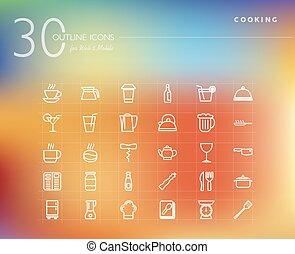 élelmiszer, főzés, állhatatos, áttekintés, ikonok