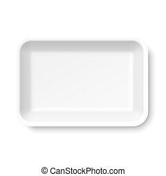 élelmiszer, fehér, tálca, sztirolhab, üres
