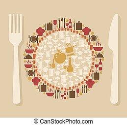 élelmiszer, fogalom, ábra, étterem