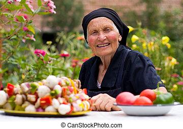 élelmiszer, friss, nő, öregedő