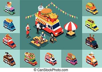élelmiszer, isometric, tervezés, különböző, csillék
