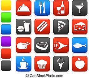 élelmiszer, ital, gyűjtés, ikon