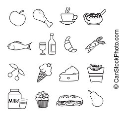 élelmiszer, ital, ikonok