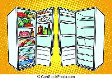 élelmiszer, két, refrigerators., más, egy, üres