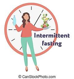 élelmiszer, kiállítás, fog, háttér, megszakított, weight., víz, fogalom, vesztes, ellen, fasting., vektor, illustration., ablak., módszer, clock., leány