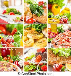 élelmiszer, kollázs, európai