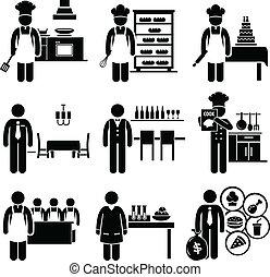 élelmiszer, konyhai, dolgok, foglalkozás