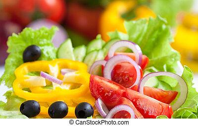 élelmiszer, növényi, friss, saláta, egészséges