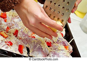élelmiszer, sajt, preparation-chopping