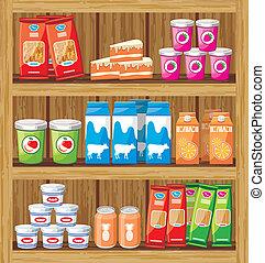 élelmiszer, shelfs, supermarket.