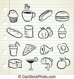 élelmiszer, sketchy, ikon