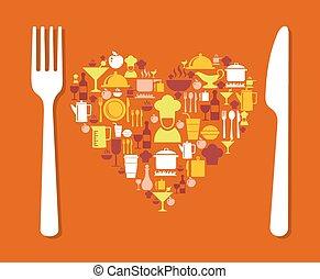 élelmiszer, szeret, ábra
