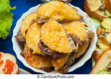 élelmiszer, tányér, ananász, hús, előkészített