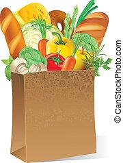 élelmiszer, táska, dolgozat