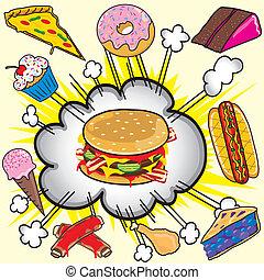 élelmiszer, vacak, explosion!