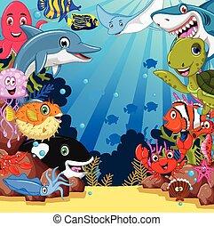 élet, állhatatos, karikatúra, tenger