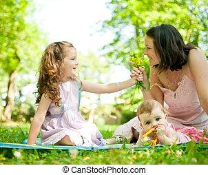 élet, boldog, -, gyerekek, anya