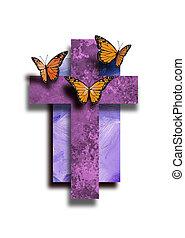 élet, grafikus, keresztény, kereszt, pillangók, új