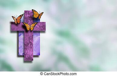 élet, grafikus, keresztény, kereszt, pillangók, háttér, elhomályosít, új, lágy
