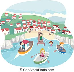 élet, gyerekek, stickman, tengerpart, ábra, falu