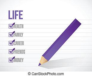 élet, lista, ábra, megjelöl, tervezés, ellenőriz