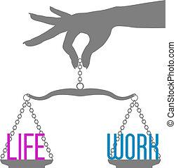 élet, mérleg, munka, kéz, személy, egyensúly