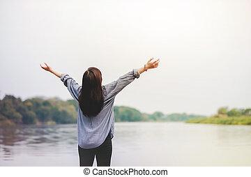 élet, nő, lélegzés, emelés, friss, ünnepek, fegyver, életmód, unpluged., szabad, bágyasztó, álló, boldog, levegő., river.