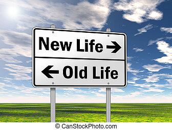"""élet, """"new, aláír, forgalom, life"""", öreg, vs."""