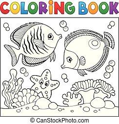élet, színezés, téma, könyv, 5, tenger