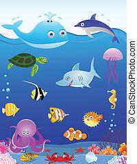 élet, tenger, karikatúra, háttér