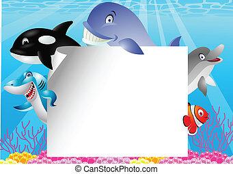 élet, tiszta, karikatúra, tenger, aláír