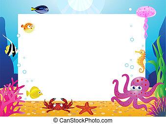 élet, tiszta, karikatúra, tenger, hely