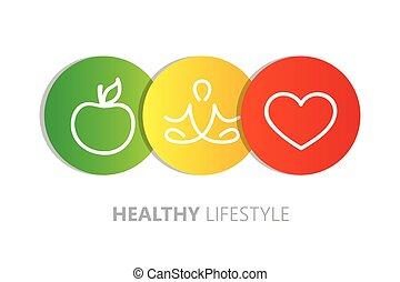 életmód, egészséges, alma, ikonok, jóga, szív