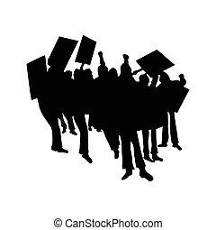 éljenzés, körvonal, vagy, tolong, tiltakozik