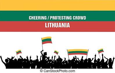 éljenzés, litvánia, vagy, tolong, tiltakozik