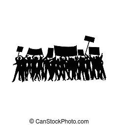 éljenzés, tiltakozik, vagy, körvonal, tolong