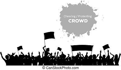 éljenzés, vagy, tolong, tiltakozik