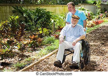 élvez, meghibásodott, kert, idősebb ember