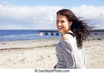 élvez, nő, tengerpart, jár