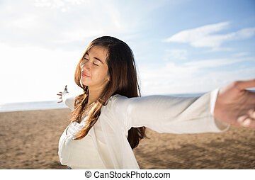 élvez, nő, tengerpart, neki, idő