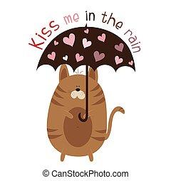 én, piros, rain-, macska, esernyő, csókol, csinos