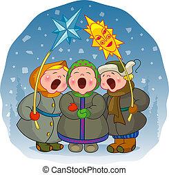 énekel, gyerekek, karácsony, dal