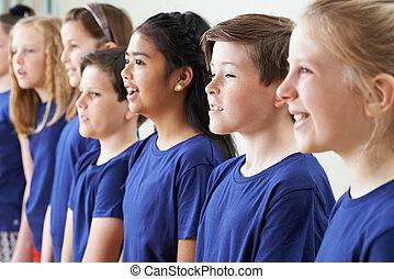 énekkar, együtt, csoport, izbogis, éneklés, gyerekek