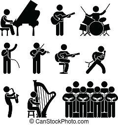 énekkar, zenész, zongoraművész, egyetértés