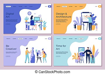 építészet, page., sablon, kifarag, tervezés, vektor, kreatív, művészet, emberek, leszállás, concept., munka, rajz, betűk, szalagcímek, lakás