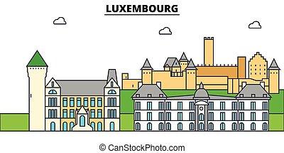 építészet, tervezés, épületek, láthatár, vektor, landmarks., elszigetelt, luxembourg., város, ábra, editable, strokes., árnykép, egyenes, lakás, concept., panoráma, ikonok, utcák, állhatatos, táj