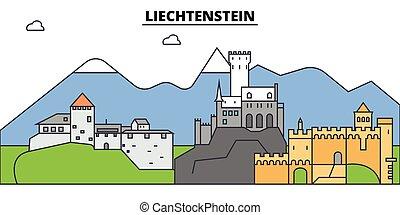 építészet, tervezés, épületek, láthatár, vektor, liechtenstein., landmarks., elszigetelt, város, ábra, editable, strokes., árnykép, egyenes, lakás, concept., panoráma, ikonok, utcák, állhatatos, táj
